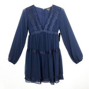 LULUS Blue Swiss Dot Boho Dreamy Lace Dress Small